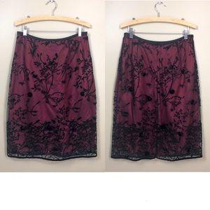 Rickie Freeman For Teri John Beaded Lace Skirt 10